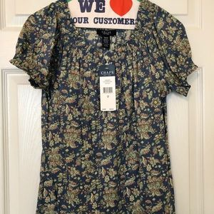 Chaps Tops - Chaps NWT Blue Calico Blouse